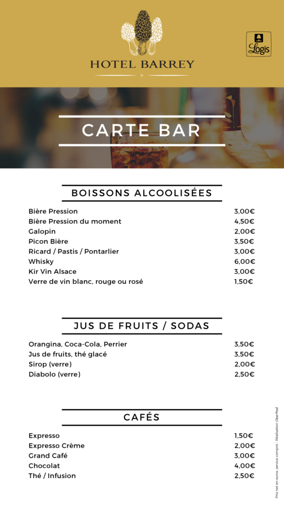 Carte du bar